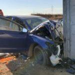 Un bărbat de 49 de ani a decedat după ce a intrat cu mașina într-un cap de pod, pe DN 14B la ieșire din Teiuș înspre Blaj