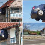 Un teiușan și-a zidit un autoturism Dacia Logan direct în peretele casei