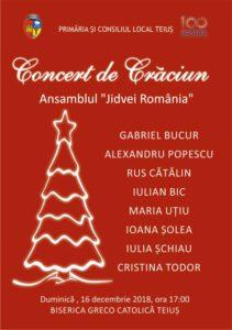 """Duminică, 16 decembrie 2018: Concert de Crăciun la Teiuș susținut de Ansamblul """"Jidvei România"""""""