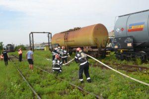 Exercițiu de simulate a unui accident urmat de incendiu pe timpul unui transport feroviar, în Stația CFR din Teiuș